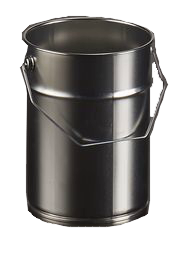 seau en fer, contenant en métal, emballage